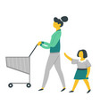 mother and daughter on shopping with supermarket vector image vector image