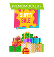 premium quality super sale sticker with headline vector image vector image