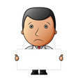 sad businessman with holding blank sign vector image