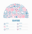 seafood concept in half circle vector image vector image