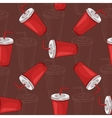 Seamless pattern scetch and color cola cup vector image vector image