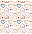 seamless pattern with hand drawn heart hearts vector image