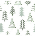 seamless pattern with simple christmas trees vector image