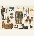 set of ancient egyptian elements vector image vector image