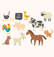 set of cute farm animals horse cow sheep pig vector image
