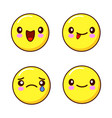 set of smiley face icons or yellow emoticons with vector image