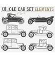 Set of the old isolated cars vector image