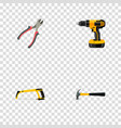 set of tools realistic symbols with pliers vector image