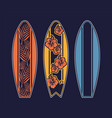set surfboard print design for surfing vector image vector image