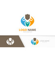 shield and family logo combination unique vector image