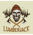 Skull-lumberjack with beardhat and two axes vector image vector image