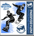 snowboarders - set vector image