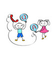 stickman boy and girl team in customer help vector image vector image