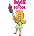 student girl back to school cartoon vector image vector image