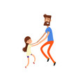 super hero dad and his daughter having fun vector image vector image