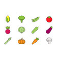 vegetables icon set in flat style vector image