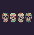 vintage colorful mexican sugar skulls collection vector image vector image