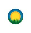 wildlife round logo dense siberian forest vector image