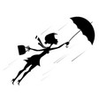 windy day and woman with umbrella silhouette illus vector image vector image