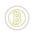 yellow line bitcoin electronic currency with vector image