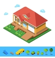 Isometric Rural Cottege Building House vector image