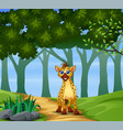 a hyena walking on forest vector image vector image
