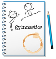 A notebook with two gymnasts at the cover page vector image vector image
