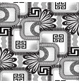 abstract black and white floral greek seamless vector image