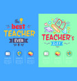 best teacher ever award on vector image vector image