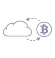 bitcoin sync with the cloud line style icon vector image vector image