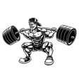 bodybuilder doing squats with barbell vector image