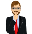 businessman making silence or secret hand gesture vector image vector image