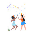 cartoon dancing women cute females in holiday vector image vector image