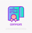 certificate with seal thin line icon vector image