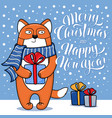 christmas and new year card with standing fox vector image vector image