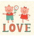 Cute card with two pigs in love vector image