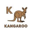 cute cartoon animals alphabet kangaroo vector image vector image