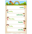 days of the week poster with happy children vector image vector image