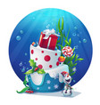 festive set - snowman cake gifts vector image