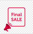 final sale message quote megaphone icon vector image vector image