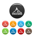 fire volcano icons set color vector image vector image