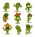 flat set of funny green cacti in different vector image vector image