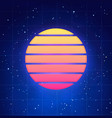 futuristic sunset in retro style vector image