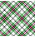 green white pink tartan diagonal plaid seamless vector image vector image