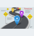 infographic car road timeline with pointers vector image vector image