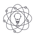 light bulb and atom around monochrome silhouette vector image vector image