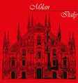 milan cathedral in italy on red background vector image