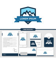 mountain logo branding with stationery mockup vector image vector image