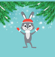 new year greeting card with cartoon bunny in red vector image vector image