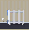 oil radiator in room with wallpaper on backdrop vector image vector image